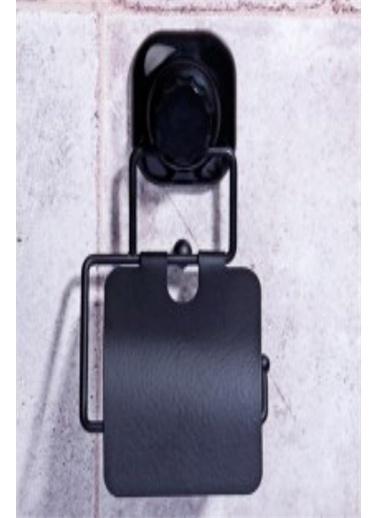 Else Halı Siyah Mat Yapışkanlı Mutfak Banyo Kapaklı Wc Kağıt Askısı Renkli